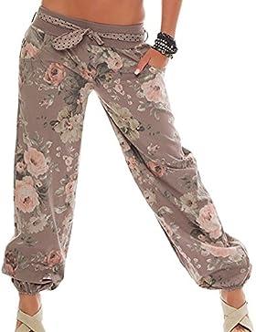 Pantalones de Linterna Impresa Moda de la Cintura Elástica de Las Mujeres, Pantalones Harem Casuales