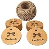 Handmade Tags,100 PCS Kraft Paper Hang Tags, 4.3 CM Craft Gift Tags with 100 Feet Jute Twine