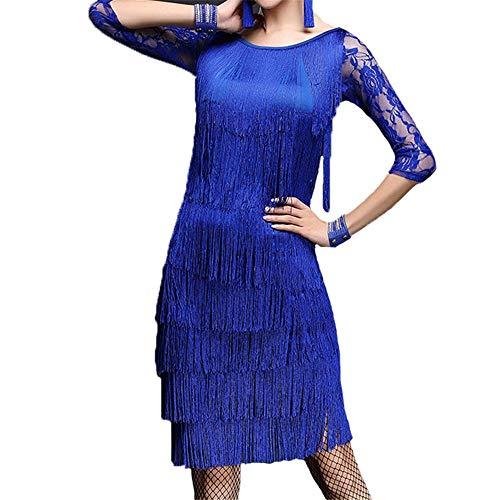 Frauen Quasten Latin Dance Dress Outfit Halbe Blumenspitze Splice Tank Top mit Tanzrock Ballsaal Dancewear Wettbewerb Performance Kostüme Gatsby Kostüm Kleid ( Farbe : Royal Blue , Größe : L )