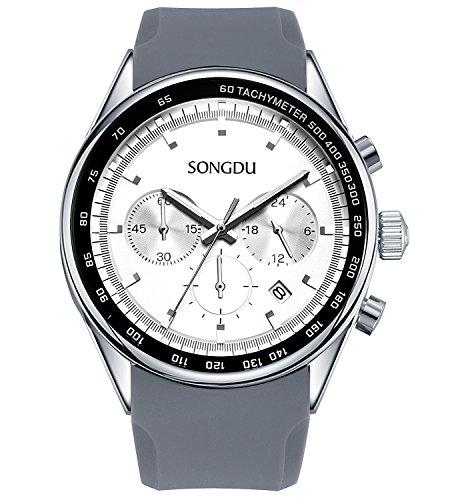 SONGDU-Herren-Analog-Chronograph-uhr-Quarz-Edelstahl-Armbanduhr-Datum-Kalender