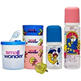 Small Wonder Pure Set Of 5 (Pure Plus Red 250 Ml, Pure Plus Blue 125 Ml, Glasses,Dispenser Blue, Soother Yellow)