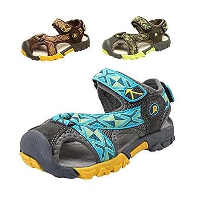 Gloria JR Sommer Athletic Strap Geschlossen-Toe Sandale Für Kleinkind Little Kid Big Kid (EU 35 (UK 2 Little Kid=22.4cm), Khaki)