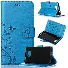 Beiuns Funda de PU piel para Samsung Galaxy Alpha (4,7 pulgadas) Carcasa - R149 azul hermoso