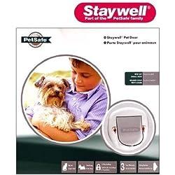 Staywell - Puerta 4 modos para mascotas perro pequeño gato grande con cierre en blanco 280EFS