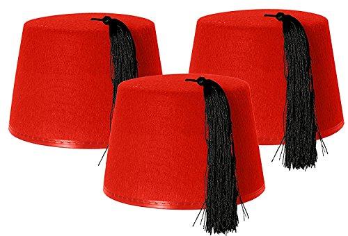 3 X RED FEZ HAT