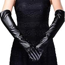Sannysis® La boda del partido de tarde Guante largo; Cuero Catwoman guantes largos (Negro)
