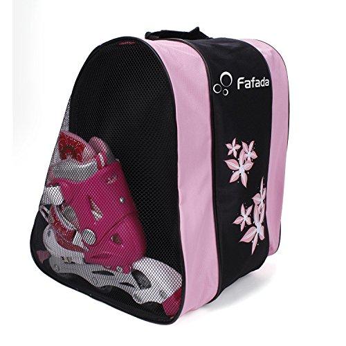 Fafada Skatertasche / Inlinertasche / Schlittschuhtasche für Ski-, Roll- und Snowboard-Schuhe Schwarz + Pink 35 x 30 x 39 cm