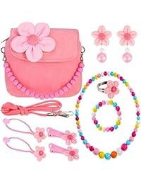 Bolso de Flor de Felpa de Niñas con Conjunto de Collar Brazalete Colorido y Clips de Pelo de Flor Lazos de Pelo Pendientes de Clip (Rosa)