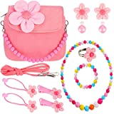 Mädchen Plüsch Blumen Handtasche mit Bunten Halskette Armband und Blume Haarspangen Haar Krawatten Ring Clip-on Ohrringe Set (Rosa)