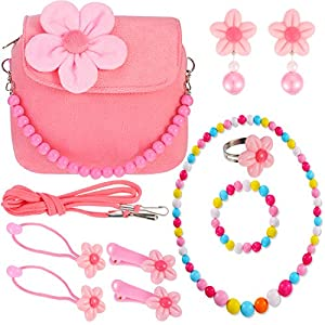 Mädchen Plüsch Blumen Handtasche mit Bunten Halskette Armband und Blume Haarspangen Haar Krawatten Ring Clip-on Ohrringe Set