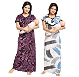 #7: Tucute Women Beautiful Heart print Satin with invisible Zip ( 1493) + Strips Print Feeding / maternity / Nursing Nighty / Night Gown / Night Dress / Nightwear (Free Size) (Pack of 2 Pcs) Style no. 1493