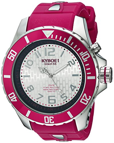 KYBOE! 'Power' Quartz Stainless Steel and Silicone Casual Watch, Color:Red (Model: KY.55-027.15)