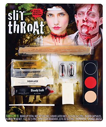 shoperama Diverse Halloween Schminksets Vampirin Zombie Blut Schminke Wunden Narben Vampir-Zähne Kunstblut Make-up, Namen:Slit Throat Kit