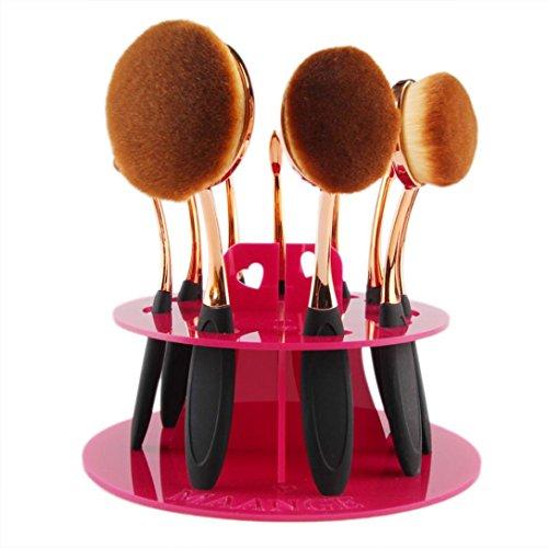 Plateau de cosmétique, Tonsee 10 trous Oval Maquillage porte-brosse Séchage Rack Organisateur - Pas de brosse - Rose vif