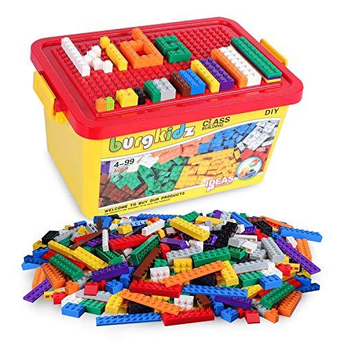 Burgkidz mattoncini classic costruzioni, 520 pezzi giocattoli educativi per bambini, con secchio portatile e compatibili con tutti i principali blocchi di marca