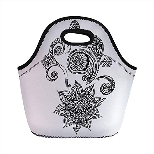 Portable Bento Lunch Bag,Henna,Flowers and Paisley Doodle Tattoo Pattern Islam Culture Inspiration Monochrome Image Decorative,Black White,for Kids Adult Thermal Insulated Tote Bags (Duffle Tasche Tattoo)