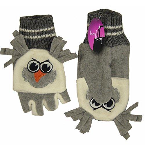 Hey Hey Twenty–Gants pour enfants Polaire Moufle repliable sur le dessus Gris - Grey Owl