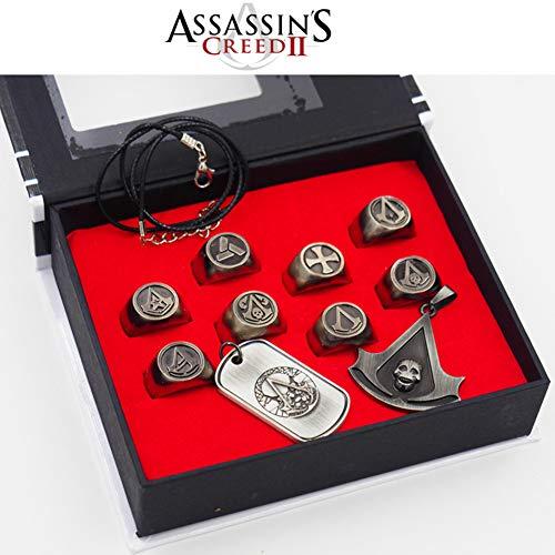 UII Assassin's Creed Halskette Anhänger Legierung Ring Schlüsselbund, Assassin's Creed Zubehör,B -