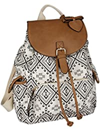 """SIX """"Trend"""" großer Canvas Rucksack, Handtasche, Beutel, Backpack, schwarz-weißes Ethno-Muster mit braunen Leder Details, 3 Außentaschen (463-796)"""