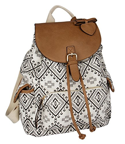 SIX - Damen Rucksack, Handtasche, Ethno-Muster, schwarz-weiß (463-796) (Aus Handtaschen Leder Kollektionen)
