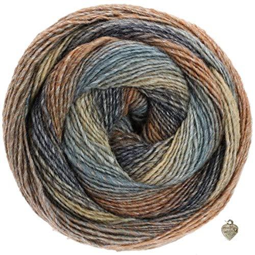 Lana Grossa Gomitolo Versione 200g Kammgarn - Bobble Wolle mit Farbverlauf und Herz Beige Graublau Camel Dunkelgrau