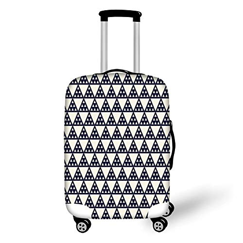 Travel Luggage Cover Suitcase Protector,Geometric,Abstract Shapes Triangles Traditional Eastern Inspirations Illustration,Dark Blue Cream,for Travel M -