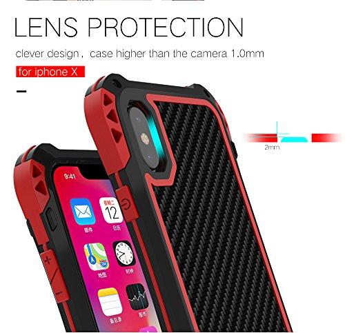 iPhone X antiurto Custodie, iPhone 10 Cover, Claelech fibra di carbonio Cover robusto Alluminio Metal Armor con Gorilla Glass vetro protettiva snow contro heavy duty case per iPhone X (nero nero nero)