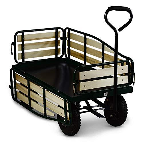 Waldbeck Ventura - Remorque de Transport à Main, Chariot de manutention carriole pour Jardin, travaux (Charge Max de 300 kg, Panneaux latéraux rabattables) Version 2020, Vert foncé