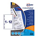 Avery 01640061 A4 IndexMaker Punched Card Dividers with Printable Clear Tabs, 12 Part