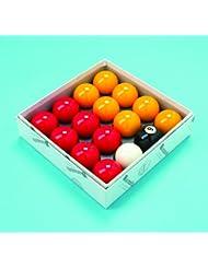 Conjunto de bolas de billar de 2 pulgadas, acabado de Aramith, color rojo y amarillo (con bola blanca de 7/8 pulgadas)