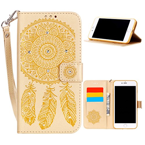 Custodia iPhone 8 Plus, Cover iPhone 7 Plus Libro, Moon mood® Diamond Mandala Protettivo Copertura Caso per Apple iPhone 8 Plus Portafoglio Cover in Pelle PU con Porta Carte Chiusura Magnetica Bling C E-Gold