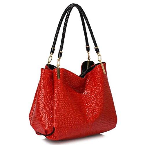 LeahWard Damen Designer Tote Taschen Qualität Celeb Style Schultertaschen Handtaschen für Frauen CW243 (Rot Schlangeneffekttasche 1) (Designer-handtaschen Verkauf)