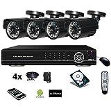 Kit vidéosurveillance 4 caméras 800TVL + enregistreur