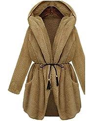 ZQQ Europa de las mujeres en otoño e invierno además de capa de piel gruesa de color sólido caliente adelgazante tamaño , khaki , 4xl