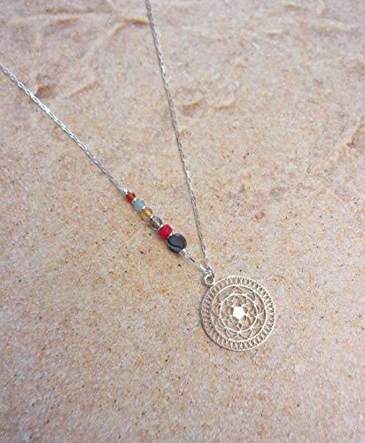 Sautoir Mandala, Argent 925 et Pierres Naturelles