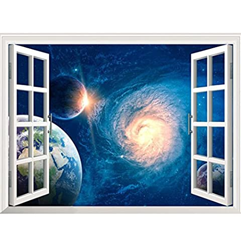 Kingko® 3D Star Galaxy Space Home Decor Art Fake Window New Wall Removable Stickers (G)