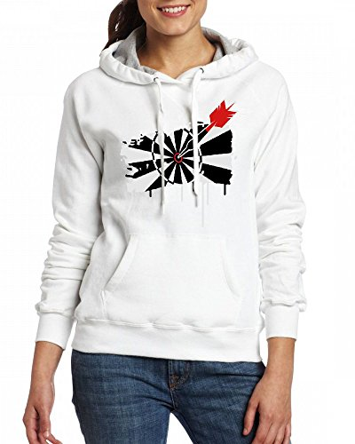 A dartboard with dart Womens Hoodie Fleece Custom Sweartshirts white