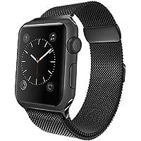 jwacct Correa para Apple Watch de 42mm, Correa Loop Deportiva Milanesa de Repuesto Hecha en Acero Inoxidable para iWatch Series 3, Series 2, Series 1 Negro