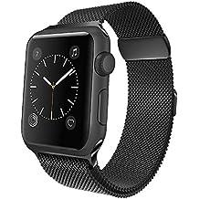 jwacct Cinturino Apple Watch 42mm, Apple Watch Strap Band Sportiva di Sostituzione Maglia Milanese per iWatch serie 3, serie 2, serie 1 Nero