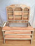 Traum Kind® Kaufladen groß für Kinder mit Türen und Schubladen Kaufmannsladen Holzkaufladen Holz Buche Massivholz natur weiß - MADE IN GERMANY