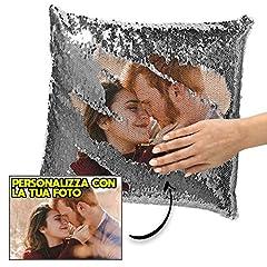 Idea Regalo - My Digital Print Cuscino Personalizzato con Foto, Cuscino Pailettes Argento, 40x40cm, Idea Regalo per Natale, Regalo San Valentino - con Imbottitura