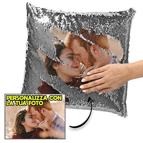 My digital print - cuscino personalizzato con foto, cuscino di paillettes argento, 40x40cm, regalo san valentino