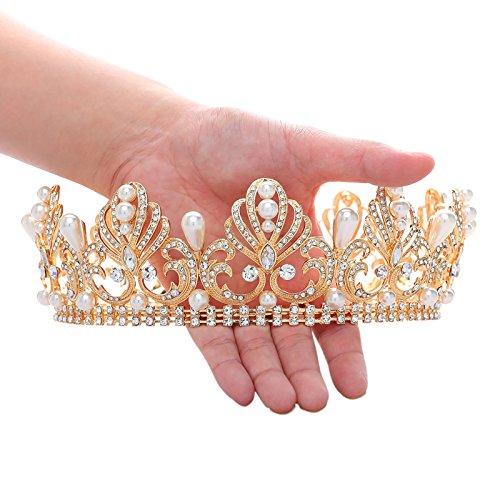 SWEETV Vendimia Real Oro CZ Cristal Corona Boda Fiesta Prom Tiara Redondo Diadema Nupcial Accesorios