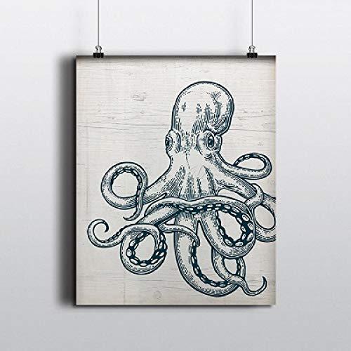 ZSHDBF Leinwanddrucke,Leinwand Hd-Print Plakat Wand Abstrakt Aquarell Octopus Hängende Bild Für Wohnzimmer Student Schule Wohnheim Schlafzimmer Küche Home Decor Kein Rahmen-17 × 78 cm