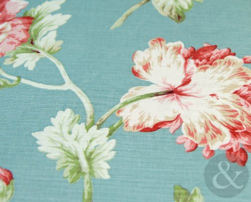 Just Contempo Apsley Floral Lined Pencil Pleat Curtains, 90 x 72 inches - Blue