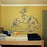 wandaufkleber 3d Wandtattoo Wohnzimmer König der Löwen Wandtattoo Kinderzimmer Kinderzimmer Simba Cartoon Interior Wall Art spielen Schmetterling Cute Decor