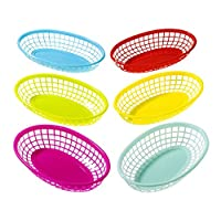 Talking Tables Cuban Fiesta Plastic Food Baskets for Picnics, BBQ and Summer Party, Multicolour (6 Pack)