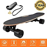 fiugsed Électrique Skateboard Longboard Skateboard avec Télécommande sans Fil Bluetooth, Planche Longue 7 Couches de Planche Feuille D'érable Solide, Vitesse Maximale 20 km/h (Noir-Style2)