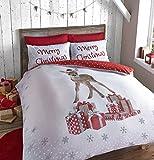 Catherine Lansfield Weihnachten Deer Double Bettbezug-Set, Multi, multi, Einzelbett