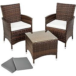 TecTake Conjunto muebles de Jardín en Aluminio y Poly Ratan Sintetico negro 2 plazas, 2 sillones, 1 mesa baja + 2 Set de fundas intercambiables, tornillos de acero inoxidable - disponible en diferentes colores - (Negro/Marrón)